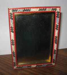 Vintage Square Red, White & Blue Easel Picture Frame Micro Italian Mosaic Italy