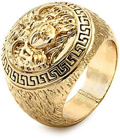 Versace King Ice Mens Medusa Yellow Gold Ring on shopstyle.com | This gold plated men's ring features a detailed 3D Medusa with Greek patterned border. Textured sides and polished shank. Sizes 9 - 13  Material Type: Brass [Nickel & Lead free]  Material Finish: 14K Gold Plating  Interior: Standard Fit  Head Diameter: 23mm