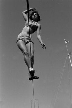 Photo by Loomis Dean - Tightrope Walker, 1952. °