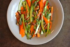 Shaved asparagus and carrots with mint and toasted pecans