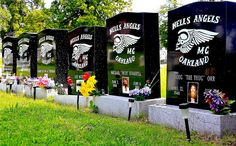 Hells Angels at Evergreen Cemetery.