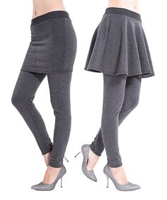 This Gray Faux Fur-Lined Skirt Leggings Set by Ace Fashions is perfect! #zulilyfinds
