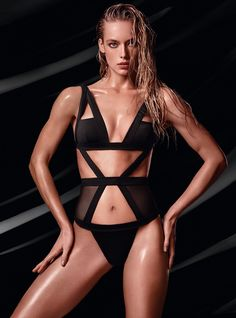 Hannah Ferguson models black bikini with cutouts