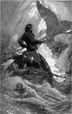 """And here, shipmates, is true and faithful repentance; not clamorous for pardon, but grateful for punishment. An illustration from Herman Melville's 1851 book Moby-Dick, showing Captain Ahab and the White Whale. American Literature, Classic Literature, Moby Dick, Captain Ahab, Captain Hook, Bateau Pirate, Library Of America, White Whale, Book Images"