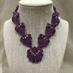 Lilac Amethyst Gemstone Beaded Macrame Necklace by PrettyKnotsnBeads on Etsy