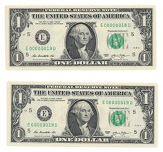 Boardwalk margins surround these two well embossed $1 federal reserve notes from Richmond that feature low two digit serial numbers 18 and 19.