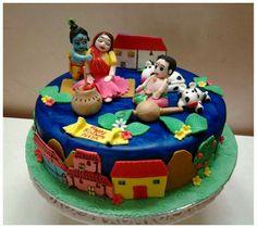 Krishna theme cake Krishna Birthday, Janmashtami Decoration, Krishna Leela, Laddu Gopal, Krishna Images, Fondant Flowers, God Pictures, Radhe Krishna, Themed Cakes