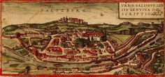 "Saltzburg, Austria, from ""Civitates Orbis Terrarum"" ('Cities of the Earth'), a mammoth 5 volume publication of over 540 city maps (mainly in Europe), released between 1572 and The Middle, Middle Earth, Antique Illustration, City Maps, Antique Maps, Cartography, Art Images, Austria, Orbis"
