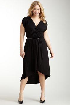 492cbc53352 Loveappella Black V-Neck Hi-Lo Midi Dress LBD plus size Moda Plus Size
