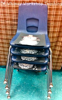Use your stacked classroom chairs as a drying rack for student artwork! Paintings slip right in with one spot per student, and they're dry by morning when you need to use the chairs again. Whimsy Workshop Teaching -- why didn't I think of that? Classroom Hacks, Classroom Organisation, Teacher Organization, Teacher Hacks, Kindergarten Classroom, Classroom Management, Classroom Solutions, Teacher Stuff, Organization Ideas
