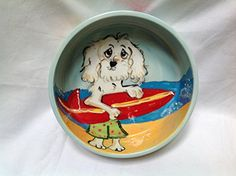 Pet Bowl 8 Dog Bowl for Food or Water Personalized at no Charge Signed by Artist Debby Carman * Visit the image link more details.