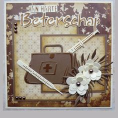 Beterschap text, Doctor bag & syringe, made by Hanny Diy And Crafts, Paper Crafts, Scrapbooking, Get Well Soon, Marianne Design, Get Well Cards, Big Shot, Stampin Up Cards, Wedding Cards