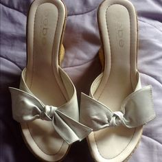 Cute Bebe Open Toe White Wedge Heels White Bebe wedges. Very cute and perfect summer with a cute dress or some shorts. Previously worn bebe Shoes Wedges