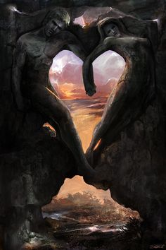 """""""If you become a helper of hearts, springs of wisdom will flow from your heart.""""~Rumi, translated by Nevit O. Ergin Image Soul Mates by Steve Goad Heart In Nature, Heart Art, Twin Flame Love, Twin Flames, Flame Art, I Love Heart, Heart Images, Art Pages, Fantasy Art"""