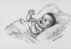 Germaine Bouret Art Drawings For Kids, Pencil Art Drawings, Art Drawings Sketches, Cool Drawings, Baby Sketch, Art Du Croquis, Baby Illustration, Baby Drawing, Drawing Reference Poses