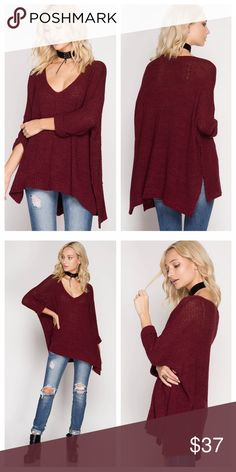 Burgundy Loose Fit V-Neck Sweater Burgundy sweater has a loose fit and slightly open weave (yes, wear something underneath!). Side slits and 3/4 length sleeves with folded cuffs. EVIEcarche Sweaters