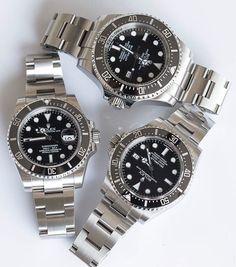 A Trio of Divers.  Submariner Ref 116610 Sea Dweller Ref 116600 Deep Sea Sea Dweller Ref 116660