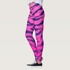 Pink And Blue Animal Tigers Stripes Leggings - cool gift idea unique present special diy