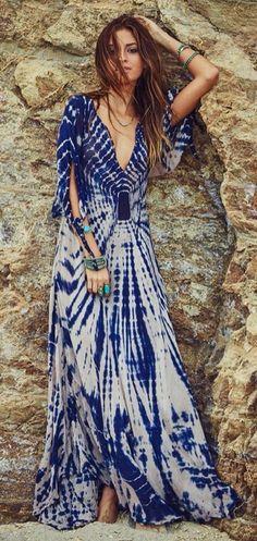 Blue and white tiy dye book dress