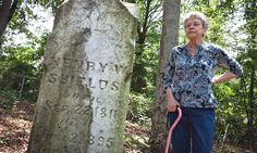 Joan Tribble at the grave of her great-great-grandfather, Henry W. Shields, a Georgia slave owner who is also an ancestor of Michelle Obama. read more http://www.nytimes.com/2012/06/17/us/dna-gives-new-insights-into-michelle-obamas-roots.html?pagewanted=1&_r=1=tw-share#