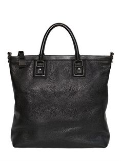 DOLCE & GABBANA ZIPPED GRAINED LEATHER SHOPPING BAG