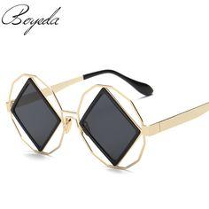 2017 New WoMen Luxury Brand Cool Fashion Polygon Frame Square Lens Sunglasses men Square Mirror Sun Glasses High Quality Glasses