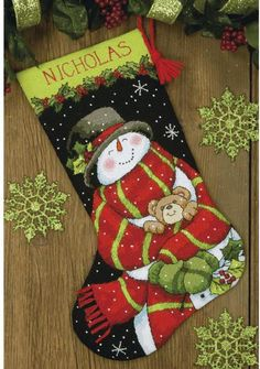 Snowman and Bear Christmas Stocking - Needlepoint Kit