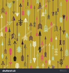 Vector seamless colorful ethnic pattern with arrows. Seamless pattern in native american style.Tribal arrows on yellow background.
