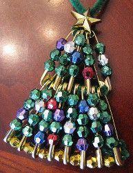 Beaded Safety Pin Mini Christmas Tree   AllFreeKidsCrafts.com