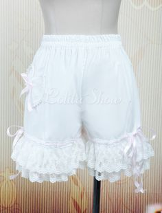 Lovely Bow Cotton White Lace Lolita Bloomers - Lolitashow.com