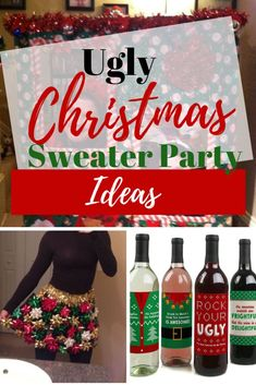 Ugly christmas sweater party decorations ideas for a diy holiday party. Ideas for kids and adults that include games, food, and decorations. Adult Christmas Party, Christmas Party Table, Christmas Decorations, Christmas Ideas, Christmas Party Ideas For Adults, Christmas Crafts, Holiday Ideas, Halloween Ideas, Halloween Party