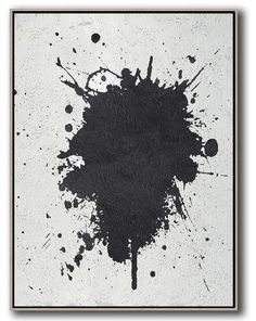 Vertical Abstract Painting MN12B, hand painted painting on canvas, black, white, grey minimal painting. By Celine Ziang Art ( CZ Art Design)