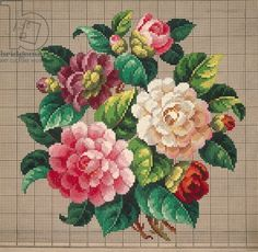 Bunch of roses embroidery design, 19th century