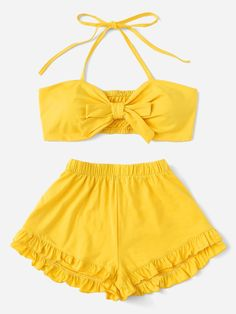 Shein Plus Tie Front Halter Top & Shorts Teenage Outfits, Teen Fashion Outfits, Cute Fashion, Cute Casual Outfits, Cute Summer Outfits, Pretty Outfits, Mode Rockabilly, Mode Simple, Cute Bathing Suits