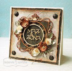 Kwadratowa ramka ornamentowa Pigment Ink, Chipboard, Clock, Stamp, Scrapbook, Handmade Cards, Home Decor, Vintage, Watch