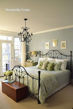 Main Guest Room with Pottery Barn Chandelier Housepitality Designs Teen Room Decor, Home Decor Bedroom, Guest Bedrooms, Guest Room, Pottery Barn Chandelier, Pottery Barn Bedrooms, Pretty Room, Beautiful Bedrooms, Living Room Chairs