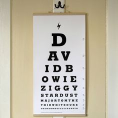 David Bowie Eye Test Chart Canvas Print