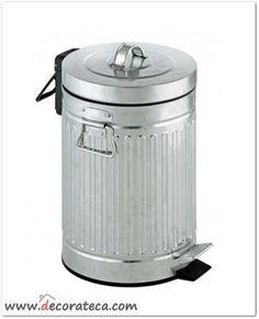 Cubo de basura / papelera retro urban en color plata con capacidad para 12 litros - WWW.DECORATECA.COM