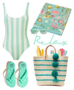 """""""Relax, Swim, Repeat"""" by youaresofashion ❤ liked on Polyvore featuring Charlotte Russe, Mary Kay, Clinique, Hollister Co., Mar y Sol, PiP Studio and swimsuit"""