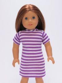 Purple And White Striped Dress -#26