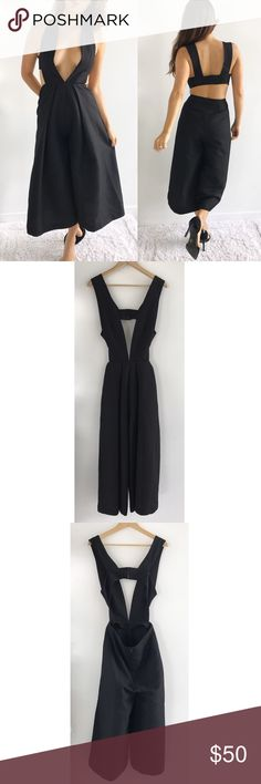"""Endless Rose Black Jumpsuit Dress Endless Rose Black Jumpsuit Dress! This is perfect for a special occasion! Excellent condition. Deep plunge neckline. It looks like a dress but it is a wide leg jump suit. Concealed back zipper on pants. 3 clasp closure on top. 100% polyester. Chest-32"""" waist-27"""" hips-42"""" inseam-19"""" length-50.5"""" size small. Model size 4. Nasty Gal Pants Jumpsuits & Rompers"""