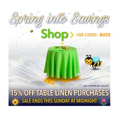 We're celebrating tax day all week long with 15% off on table linen purchases over $50. Sale ends midnight Sunday, 4-17. Enter promo code BUZZ when checking out to the deal.