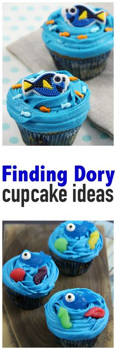 Finding Dory Cupcakes - you'll love these easy to make ideas to create Finding Dory cupcakes. Complete with recipe for buttercream icing. Perfect for your next party or a post-movie treat.