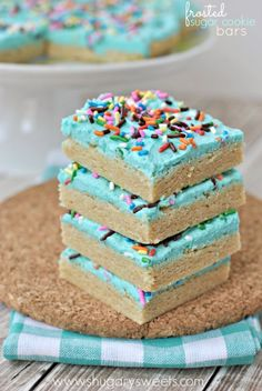 Frosted Sugar Cookie Bars - Shugary Sweets