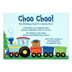 Train Birthday Party Invitations Cute boy's train bear birthday party invitation