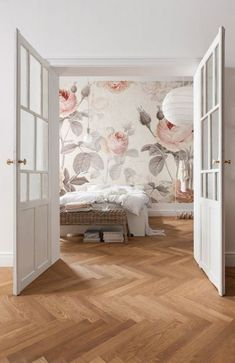 soft floral mural wallpaper and those white rustic interior doors with glass inserts you don't see that in the 'burbs La Maison Wall Mural Floral Komar Decal - April 20 2019 at Wallpaper Panels, Wallpaper Decor, Wallpaper Ideas, Wallpaper Roll, Adhesive Wallpaper, Bedroom Wallpaper Flowers, Wallpaper Bedroom Vintage, Large Floral Wallpaper, Floral Wallpapers