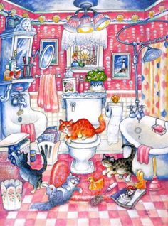 Many cats paintings. Bill Bell - In the Pink.