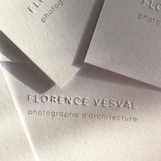 Business cards printed for Florence Vesval - Architectural Photographer. Label Design, Branding Design, Identity Branding, Visual Identity, Design Design, Personal Identity, Graphic Design, Stationery Design, Corporate Design