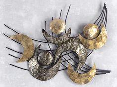 Amazing WAND DEKO Retro Muschel aus Metall Breite cm H he cm schwarz mit silber