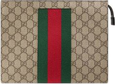 507f1e1ad Shop the GG Supreme Web pouch by Gucci. A combination of two of Gucci's  most recognizable codes: the GG motif and the Web. This pouch case is made  in GG ...